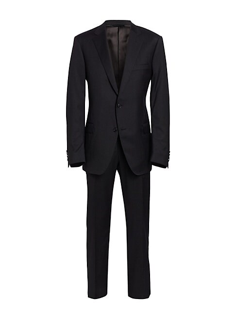 Image of EXCLUSIVELY OURS. Crafted from luxe wool, this two-piece suit featuring solid jacket and matching pants is crafted in a regular-fit silhouette for a timeless look. Wool. Dry clean. Made in Italy. Jacket. Notched lapels. Front two-button closure. Long slee