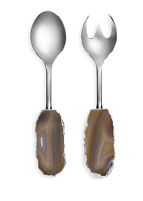 """Image of From the Scossa Collection. Stainless steel salad servers with agate handles. Set of two salad servers.2.25"""" W x 10.5"""" L x 0.75"""" D.Natural sand colored agate handles. Electroplated pure silver/stainless steel. Hand wash. Imported. Pleasee note: Color shad"""