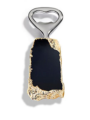 "Image of From the Heritage Collection Stainless steel bottle opener with 24K goldplated obsidian 1.75""W x 5""L Obsidian 24K goldplated Stainless steel Wipe clean Imported. Gifts - Serveware. ANNA New York. Color: Gold."
