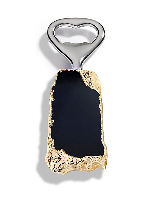 "Image of From the Heritage Collection. Stainless steel bottle opener with 24K goldplated obsidian.1.75""W x 5""L.Obsidian.24K goldplated. Stainless steel. Wipe clean. Imported."