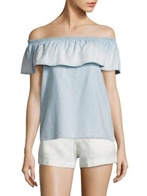 Soft Joie Vilma Chambray Off-The-Shoulder Top by Joie