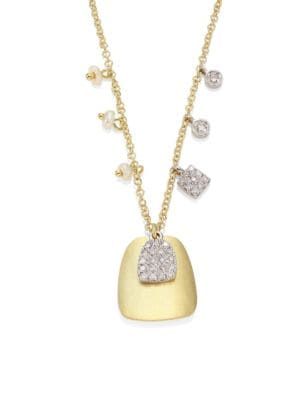 MEIRA T 14K White And Yellow Gold Disc Pendant Necklace With Diamond And Cultured Freshwater Pearl Charms, 1