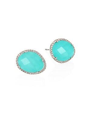 b2a679462 Meira T - Diamond, Turquoise Doublet & 14K White Gold Stud Earrings