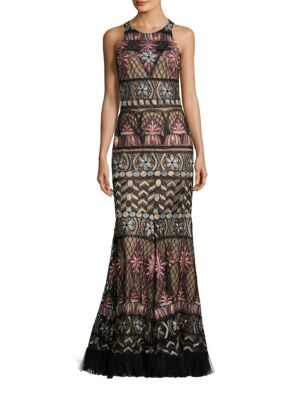 Embroidered Mermaid Gown by Basix Black Label