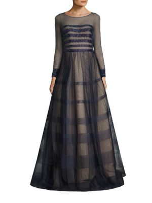 Beaded Striped Gown by Basix Black Label