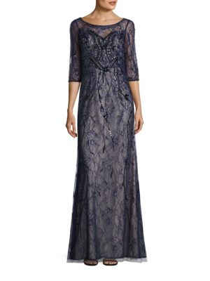 Embellished Lace Gown by Basix Black Label