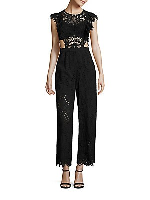2a2b330da8b Nightcap Clothing - Eyelet Cap Sleeve Cotton Jumpsuit - saks.com