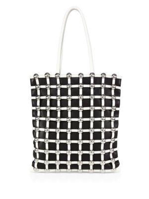 Dome-Stud Caged Shopper Tote Bag, Black/White, Black-White