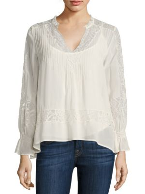 Victorian Pleated Lace-Inset Blouse by Love Sam