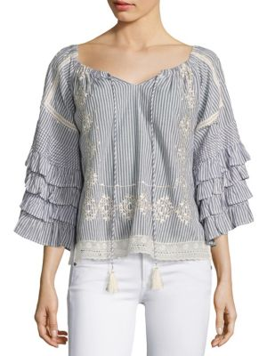 Embroidered Off-The-Shoulder Ruffle Sleeve Blouse by Love Sam