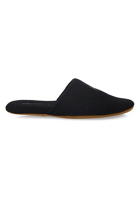 """Image of Contrast """"Mr. Right"""" embroidery on a cashmere pair. Cashmere upper. Round toe. Slip-on style. Nylon and polyurethane sole. Imported."""