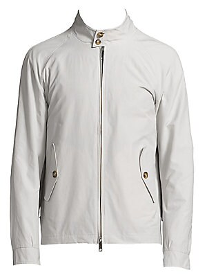 Image of Slim-fit jacket rendered with Coolmax Technology Stand collar with button closure Front zip closure Long raglan sleeves with buttoned cuffs Waist buttoned flap pockets Adjustable waist tabs Storm flap Lined Cotton/polyester Machine wash Made in England. M