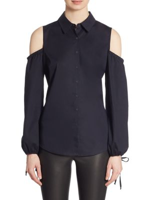 COLLECTION Cold Shoulder Poplin Top by Saks Fifth Avenue