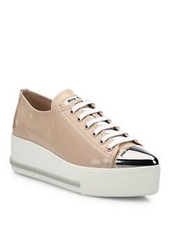 c44f41717579 Miu Miu Patent Leather Platform Cap-Toe Sneakers