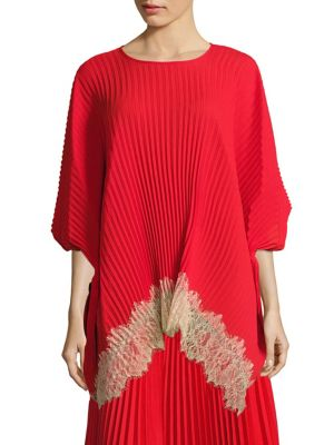 Victoria Pleated Lace Hem Top by Delfi Collective