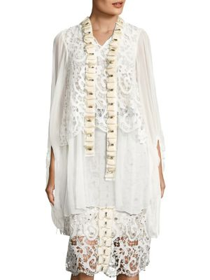 Full Moon Crystal Bow Tie-Neck Blouse by Romance Was Born