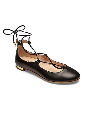 Image of Leather ballet flat updated with lace-up styling Leather upper Round toe Lace-up style Leather lining Rubber sole Padded insole Made in Italy. Children's Wear - Children's Shoes > Saks Fifth Avenue. Aquazzura Mini. Color: Black. Size: 29 EU/ 11.5 US (Chil