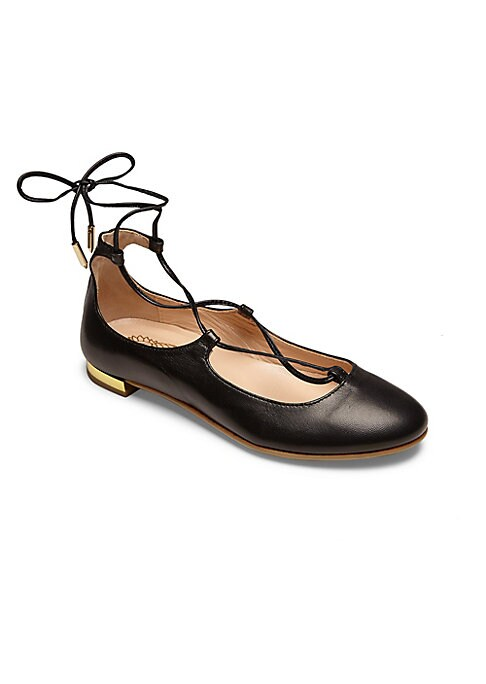 Image of Leather ballet flat updated with lace-up styling. Leather upper. Round toe. Lace-up style. Leather lining. Rubber sole. Padded insole. Made in Italy.