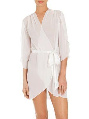 JONQUIL Summer Chiffon Short Wrap Robe, Ivory