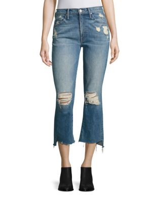 Insider Distressed Cropped Step Hem Jeans by MOTHER