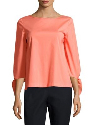 Elaina Solid Cotton-Blend Blouse by Lafayette 148 New York
