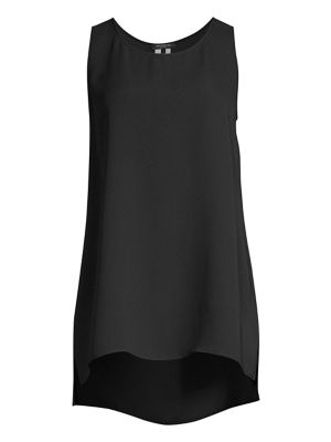 Ruthie Sleeveless High-Low Silk Blouse, Plus Size, Black