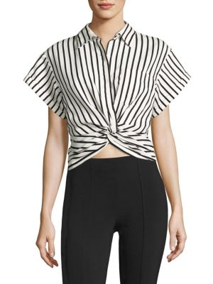 T by Twisted Front Striped Shirt by T by Alexander Wang