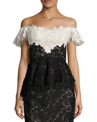 Lace Ruffled Lace Silk-Blend Corset Off-The-Shoulder Top by RENE RUIZ