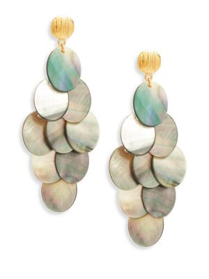 """Image of Elegant style with cascading grey mother-of-pearl discs. Grey mother-of-pearl.24K goldplated brass. Drop, 3.5"""".Width, 1.5"""".Post back. Made in USA."""