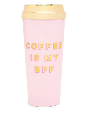 "Image of Insulated thermal mug makes a playful statement 16 oz capacity Open-and-close slider lid BPA- lead- and phthalate-free Height, 8"" Acrylic Handwash Imported. Gifts - Books And Music > Saks Fifth Avenue. ban. do. Color: Brown."