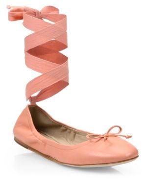 Leather Ankle-Wrap Ballet Flats, Blush