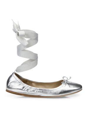 Metallic Leather Ankle-Wrap Ballet Flats, Silver