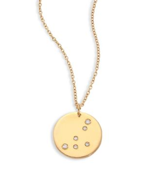 "Image of From the Constellations Collection. Disc pendant necklace with diamond Capricorn constellation. Diamonds, 0.04 tcw.18K yellow gold. Length, 16"" with 2"" extender. Pendant diameter, 0.5"".Spring ring. Made in USA."