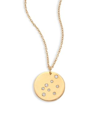 "Image of From the Constellations Collection. Disc pendant necklace with diamond Aquarius constellation. Diamonds, 0.05 tcw.18K yellow gold. Length, 16"" with 2"" extender. Pendant diameter, 0.5"".Spring ring. Made in USA."