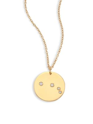 "Image of From the Constellations Collection. Disc pendant necklace with diamond Aries constellation. Diamonds, 0.045 tcw.18K yellow gold. Length, 16"" with 2"" extender. Pendant diameter, 0.5"".Spring ring. Made in USA."