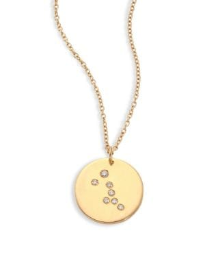 "Image of From the Constellations Collection. Disc pendant necklace with diamond Taurus constellation. Diamonds, 0.04 tcw.18K yellow gold. Length, 16"" with 2"" extender. Pendant diameter, 0.5"".Spring ring. Made in USA."