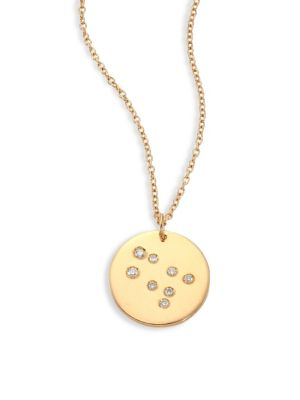 "Image of From the Constellations Collection. Disc pendant necklace with diamond Gemini constellation. Diamonds, 0.05 tcw.18K yellow gold. Length, 16"" with 2"" extender. Pendant diameter, 0.5"".Spring ring. Made in USA."