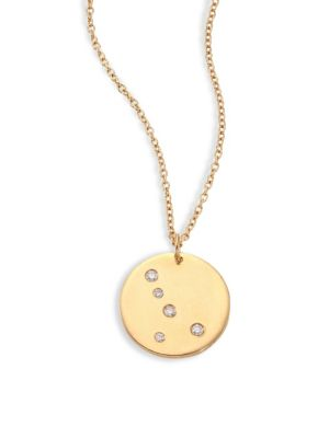 "Image of From the Constellations Collection. Disc pendant necklace with diamond Cancer constellation. Diamonds, 0.04 tcw.18K yellow gold. Length, 16"" with 2"" extender. Pendant diameter, 0.5"".Spring ring. Made in USA."