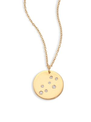 "Image of From the Constellations Collection. Disc pendant necklace with diamond leo constellation. Diamonds, 0.045 tcw.18K yellow gold. Length, 16"" with 2"" extender. Pendant diameter, 0.5"".Spring ring. Made in USA."