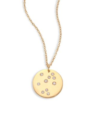 "Image of From the Constellations Collection. Disc pendant necklace with diamond Sagittarius constellation. Diamonds, 0.06 tcw.18K yellow gold. Length, 16"" with 2"" extender. Pendant diameter, 0.5"".Spring ring. Made in USA."