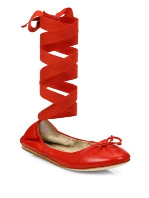 Leather Ankle-Wrap Ballet Flats, Red