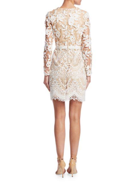 ML Monique Lhuillier Lace Cocktail Dress | SaksFifthAvenue