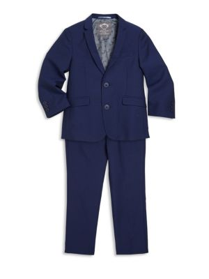 Image of Let your child sport a handsome look with this two-piece mod suit and pant set. Polyester/rayon. Machine wash. Imported. Suit. Notch lapels. Front button closure. Long sleeves with buttoned cuffs. Chest welt pocket. Waist flap pockets. Pants. Belt loops.