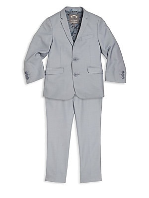 Image of Baby's & Boy's Mod Suit Single-hued suit jacket with adjustable pants lend a handsome look. Polyester/viscose. Machine wash. Imported. JACKET Notched lapel Front two-button closure Long sleeves Buttoned cuffs Chest mock welt pocket Waist mock flap pockets