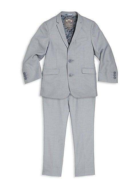 Image of Baby's & Boy's Mod Suit Single-hued suit jacket with adjustable pants lend a handsome look. Polyester/viscose. Machine wash. Imported. Jacket. Notched lapel. Front two-button closure. Long sleeves. Buttoned cuffs. Chest mock welt pocket. Waist mock flap p