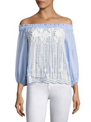 Minna Fringed Lace Off-The-Shoulder Top by Alexis