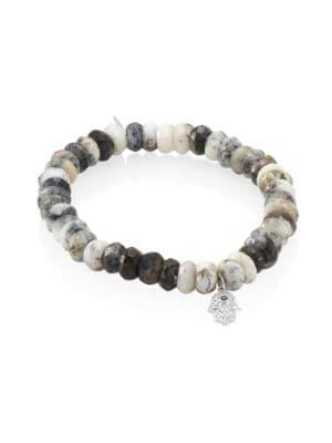 Image of Small Hamsa Diamond, Sapphire & Dendrite Opal Beaded Bracelet