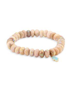 Image of Small Hamsa Diamond, Turquoise Enamel & Pink Opal Beaded Bracelet