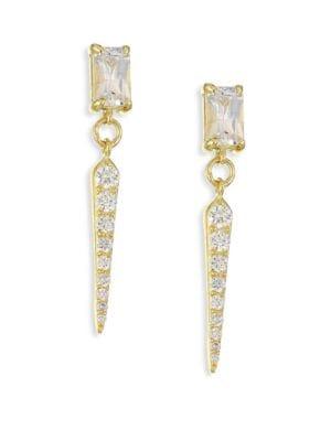 ILA Ellis Diamond, White Sapphire & 14K Yellow Gold Drop Earrings