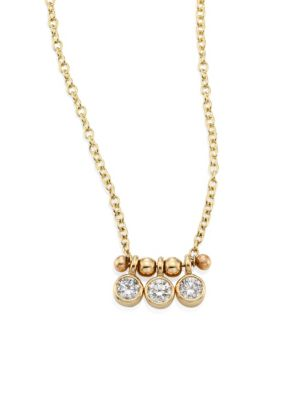 ZOË CHICCO 14K Yellow Gold And Diamond Bezel-Set 3 Necklace, 16